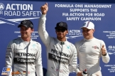 The Top Three Qualifiers : Second Place Nico Rosberg, Pole Position Lewis Hamilton and Third Place Valtteri Bottas