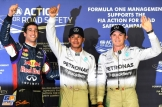 The Top Three Qualifiers : Third Place Daniel Ricciardo, Pole Position Lewis Hamilton and Second Place Nico Rosberg