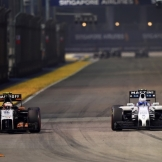 Sergio Perez (Force India F1 Team, VJM07) and Valtteri Bottas (Williams F1 Team, FW36)