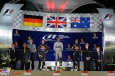 The Podium : Second Place Sebastian Vettel, Race Winner Lewis Hamilton and Third Place Daniel Ricciardo