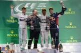 The Podium : Second Place Nico Rosberg, Race winner Lewis Hamilton and Third Place Sebastian Vettel