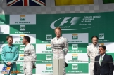 The Podium : Second Place Lewis Hamilton, Race Winner Nico Rosberg and Third Place Felipe Massa