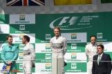 The Podium : Second Place Lewis Hamilton, Race Winner Nico Rosberg and Third Place Felipe Massa