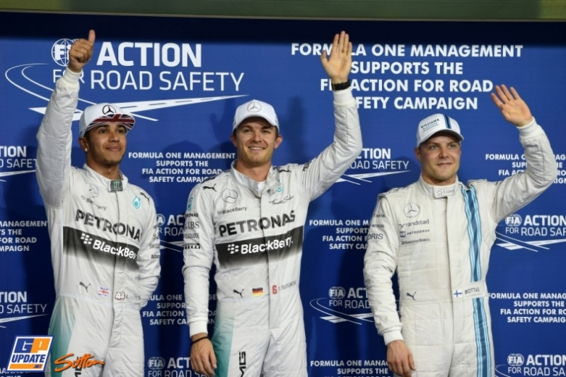 The Top Three Qualifiers : Second Place Lewis Hamilton, Pole Position Nico Rosberg and Third Place Valtteri Bottas