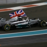 Lewis Hamilton (Mercedes AMG F1 Team, F1 W05) celebrating his Race Win and his 2014 Championship Win