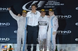 The Podium : Second Place Felippe Massa, Winning Constructor Toto Wolff, Race Winner and 2014 Champion Lewis Hamilton and Third Place Valtteri Bottas