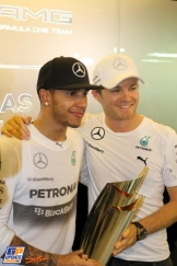 2014 Champion Lewis Hamilton with his Mercedes AMG F1 Team Teammate Nico Rosberg