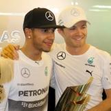 2014 Champion Lewis Hamilton with his Mercedes AMG F1 Team Teammate Nico Rosberg