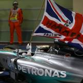 Lewis Hamilton celebrating his Race Win and 2014 Championship Title