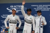 The Top Three Qualifiers : Second Place Nico Rosberg (Mercedes AMG F1 Team), Pole Position Lewis Hamilton (Mercedes AMG F1 Team) and Felipe Massa (Williams F1 Team)