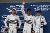 The Top Three Qualifiers : Second Place Nico Rosberg (Mercedes AMG F1 Team), Pole Position Lewis Hamilton (Mercedes AMG F1 Team) and Felipe Massa (Williams F1 Team)