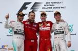 The Podium : Second Place Lewis Hamilton (Mercedes AMG F1 Team), Race Winner Sebastian Vettel (Scuderia Ferrari) and Third Place Nico Rosberg (Mercedes AMG F1 Team)