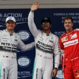 The Top Three Qualifiers : Second Place Nico Rosberg (Mercedes AMG F1 Team), Pole Position Lewis Hamilton (Mercedes AMG F1 Team) and Second Place Sebastian Vettel (Scuderia Ferrari)
