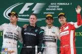 The Podium : Second Place Nico Rosberg (Mercedes AMG F1 Team), Race Winner Lewis Hamilton (Mercedes AMG F1 Team) and Third Place Sebastian Vettel (Scuderia Ferrari)