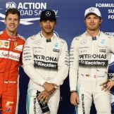The Top Three Qualifiers : Second Place Sebastian Vettel (Scuderia Ferrari), Pole Position Lewis Hamilton (Mercedes AMG F1 Team) and Third Place Nico Rosberg (Mercedes AMG F1 Team)