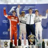 The Podium : Second Place Kimi Räikkönen (Scuderia Ferrari), Race Winner Lewis Hamilton (Mercedes AMG F1 Team) and Nico Rosberg (Mercedes AMG F1 Team)