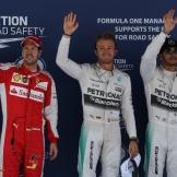 The Top Three Qualifiers : Third Place Sebastian Vettel (Scuderia Ferrari), Pole Position Nico Rosberg (Mercedes AMG F1 Team) and Second Place Lewis Hamilton (Mercedes AMG F1 Team)