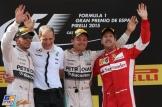 The Podium : Second Place Lewis Hamilton (Mercedes AMG F1 Team), Race Winner Nico Rosberg (Mercedes AMG F1 Team) and Third Place Sebastian Vettel (Scuderia Ferrari)