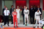 The Podium : Second Place Sebastian Vettel (Scuderia Ferrari), Race Winner Nico Rosberg (Mercedes AMG F1 Team) and Third Place Lewis Hamilton (Mercedes AMG F1 Team)
