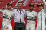 The Podium : Second Place Nico Rosberg (Mercedes AMG F1 Team), Race Winner Lewis Hamilton (Mercedes AMG F1 Team) and Third Place Valtteri Bottas (Williams F1 Team)