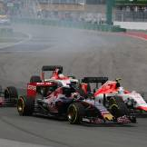 Max Verstappen (Scuderia Toro Rosso, STR10), Jenson Button (McLaren Honda, MP4-30) and Roberto Merhi and Will Stevens (Manor Marussia F1 Team, MR30)