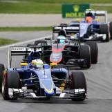 Marcus Ericsson (Sauber F1 Team, C34), Fernando Alonso (McLaren Honda, MP4-30) and Felipe Nasr (Sauber F1 Team, C34)