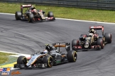 Sergio Pérez (Force India F1 Team, VJM08), followed by Romain Grosjean and Pastor Maldonado (Lotus F1 Team, E23 Hybrid)
