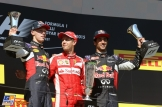The Podium : Third Place Daniil Kvyat (Red Bull Racing), Race Winner Sebastian Vettel (Scuderia Ferrari) and Second Place Daniel Ricciardo (Red Bull Racing)