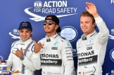The Top Three Qualifiers : Third Place Felipe Massa (Williams F1 Team), Pole Position Lewis Hamilton (Mercedes AMG F1 Team) and Second Place Nico Rosberg (Mercedes AMG F1 Team)