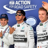 The Top Three Qualifiers : Third Place Felipe Massa (Williams F1 Team), Pole Position Lewis Hamilton (Mercedes AMG F1 Team) and Second Place Nico Rosberg (Mercedes AMG F1 Team)