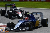 Felipe Nasr (Sauber F1 Team, C34) and Fernando Alonso (McLaren Honda, MP4-30)