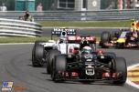 Romain Grosjean (Lotus F1 Team, E23 Hybrid) and Valtteri Bottas (Williams F1 Team, FW37)