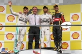 The Podium : Second Place Nico Rosberg (Mercedes AMG F1 Team), Race Winner Lewis Hamilton (Mercedes AMG F1 Team) and Third Place Romain Grosjean (Lotus F1 Team)
