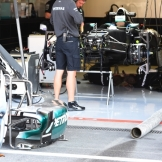 A Detail of the Pit Box for the Mercedes AMG F1 Team