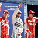 The Top Three Qualifiers : Third Place Sebastian Vettel (Scuderia Ferrari), Pole Position Lewis Hamilton (Mercedes AMG F1 Team) and Second Place Kimi Räikkönen (Scuderia Ferrari)
