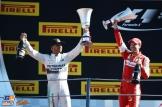 The Podium : Race Winner Lewis Hamilton (Mercedes AMG F1 Team) and Second Place Sebastian Vettel (Scuderia Ferrari)
