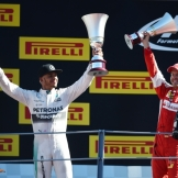 The Podium : Race Winner Lewis Hamilton (Mercedes AMG F1 Team) and Second Place Sebastian Vettel (Scuderia Ferrari)