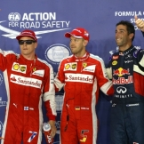 The Top Three Qualifiers : Third Place Kimi Räikkönen (Scuderia Ferrari), Pole Position Sebastian Vettel (Scuderia Ferrari) and Second Place Daniel Ricciardo (Red Bull Racing)