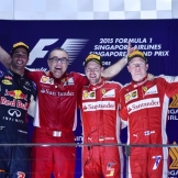 The Podium : Second Place Daniel Ricciardo (Red Bull Racing), Race Winner Sebastian Vettel (Scuderia Ferrari) and Third Place Kimi Räikkönen (Scuderia Ferrari)