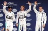 The Top Three Qualifiers : Second Place Lewis Hamilton (Mercedes AMG F1 Team), Pole Position Nico Rosberg (Mercedes AMG F1 Team) and Third Place Valtteri Bottas (Williams F1 Team)