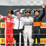 The Podium : Second Place Sebastian Vettel (Scuderia Ferrari), Race Winner Lewis Hamilton (Mercedes AMG F1 Team) and Third Place Sergio Pérez (Force India F1 Team)