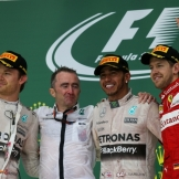 The Podium : Second Place Nico Rosberg (Mercedes AMG F1 Team), Paddy Lowe (Mercedes AMG F1 Team), Race Winner Lewis Hamilton (Mercedes AMG F1 Team) and Third Place Sebastian Vettel (Scuderia Ferrari)