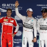 The Top Three Qualifiers : Third Place Sebastian Vettel (Scuderia Ferrari), Pole Position Nico Rosberg (Mercedes AMG F1 Team) and Second Place Lewis Hamilton (Mercedes AMG F1 Team)