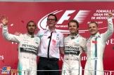 The Podium : Second Place Lewis Hamilton (Mercedes AMG F1 Team), Race Winner Nico Rosberg (Mercedes AMG F1 Team) and Third Place Valtteri Bottas (Williams F1 Team)