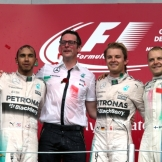 The Podium : Second Place Lewis Hamilton (Mercedes AMG F1 Team), Race Winner Nico Rosberg (Mercedes AMG F1 Team) and Third Place Valtteri Bottas (Williams F1 Team)