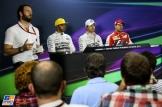 The Top Three Qualifiers : Second Place Lewis Hamilton (Mercedes AMG F1 Team), Pole Position Nico Rosberg (Mercedes AMG F1 Team) and Third Place Sebastian Vettel (Scuderia Ferrari)