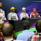 The Top Three Qualifiers : Second Place Lewis Hamilton (Mercedes AMG F1 Team), Pole Position Nico Rosberg (Mercedes AMG F1 Team) and Third Place Sebastian Vettel (Scuderia Ferrari)