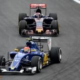 Felipe Nasr (Sauber F1 Team, C34) and Max Verstappen (Scuderia Toro Rosso, STR10)