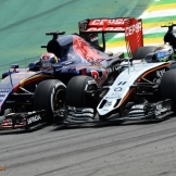 Sergio Pérez (Force India F1 Team, VJM08) and Max Verstappen (Scuderia Toro Rosso, STR10)