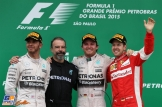 The Podium : Second Place Lewis Hamilton (Mercedes AMG F1 Team), Race Winner Nico Rosberg (Mercedes AMG F1 Team) and Third Place Sebastian Vettel (Scuderia Ferrari)